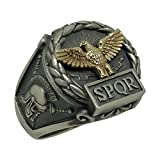 Handcrafted Sterling Silver 925 and Yellow Gold 10K Custom Made Roman Empire Eagle SPQR Skull Biker mens Ring
