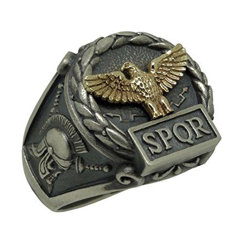 Handcrafted Sterling Silver 925 and Yellow Gold 10K Custom Made Roman Empire Eagle SPQR Skull Biker mens Ring by SECRETIUM