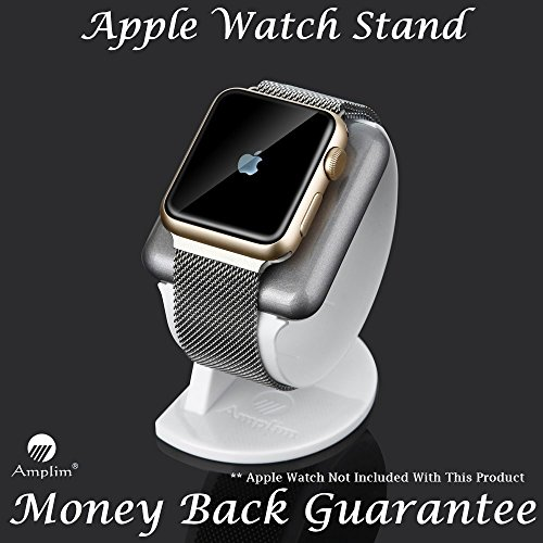 Apple Watch Stand for Series 1 / Series 2 (38mm, 42mm). Amplim UV Coated Premium Silver Gray Aluminum Dock with Anti-Scratch White Plastic Band plus Anti Slip Metal Weighted Base. NightStand Mode. NEW