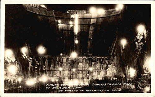Night Construction, Downstream Face of Boulder Dam Boulder Dam, Nevada Original Vintage Postcard