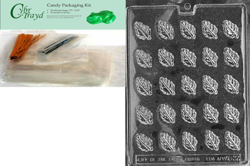 Cybrtrayd Mdk50-AO037 Spearmint Leaves All Occasions Chocolate Candy Mold with Packaging Bundle of 50 Cello Bags, 50 Twist Ties and Chocolate Molding Instructions