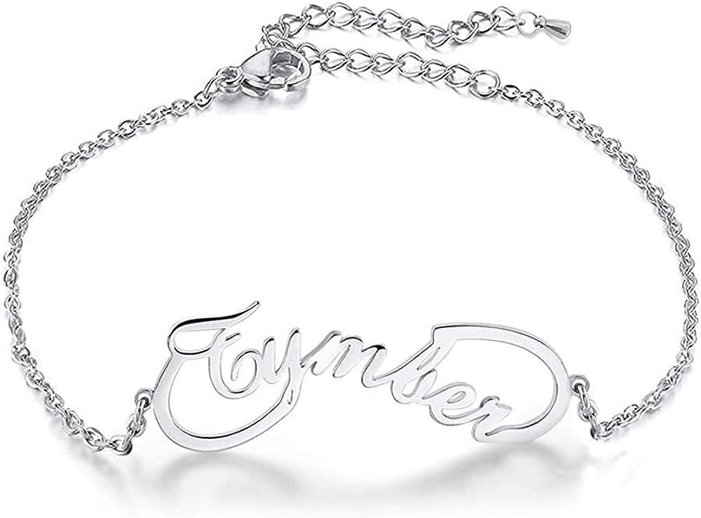 KAULULU Personnalis/é Femme Bracelets Infini avec Nom Grav/é Bracelets Enfant avec Prenom pour M/ère Fille Bijoux Cadeaux Anniversaire pour Femme Maman