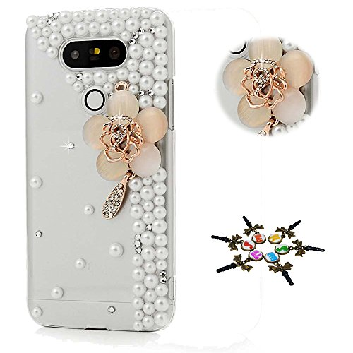 STENES LG Tribute Dynasty Case - STYLISH - 100+ Bling - 3D Handmade Agate Flowers Design Protective Case For LG Tribute Dynasty - Champagne