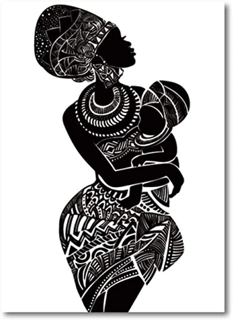 Beautiful African Woman With Baby Bedroom Wall Art Canvas Painting Black And White Wall Picture Poster Modern Print Home Decor 50x70cm Unframed Amazon De Kuche Haushalt