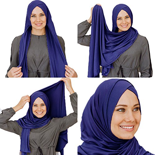 Cotton head scarf, instant hijab, ready to wear muslim accessories for women (Sapphire)