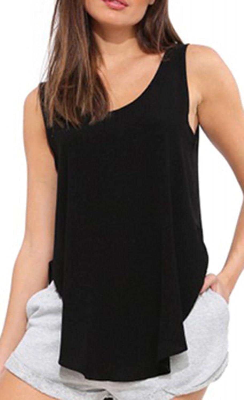 Difyou Women's Boyfriend Style Furcal Asymmetrical Hem T-Shirt Tank Top
