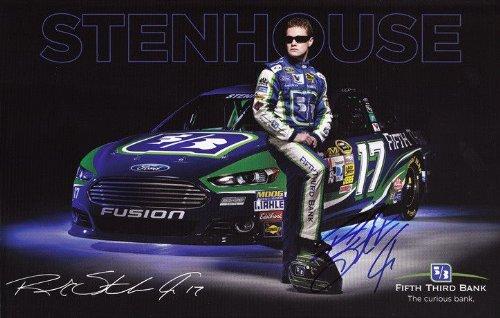 Autographed 2013 Ricky Stenhouse Jr   17 Fifth Third Bank Racing  Roush  7X9 Nascar Signed Hero Card W  Coa