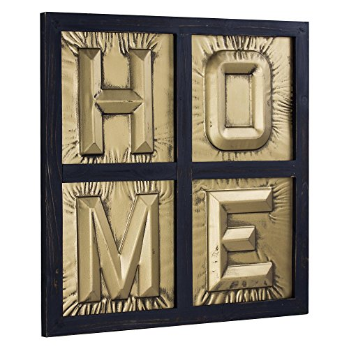 Millennium Art American Art Décor HOME Sign 3D Gold Metal Block