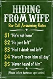 Hiding From Wife Bar Phone Fees Plastic Sign 12 x 18in