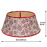 New Traditions - Burlap Stand Band Tree Collar with Glitter Poinsettias - Tan/Red