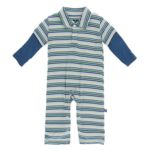 KicKee Pants Little Boys Solid Long Sleeve Double Layer Polo Romper - Boy Perth Stripe, 18-24 - Stores Perth
