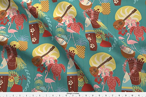 Spoonflower Mid Century Modern Tiki Hilton Hawaiian Village Waikiki Beach Resort Fabric Hawaii 1950S Tiki Retro by Colour Angel by Kv Printed on Linen Cotton Canvas Ultra Fabric by The Yard -