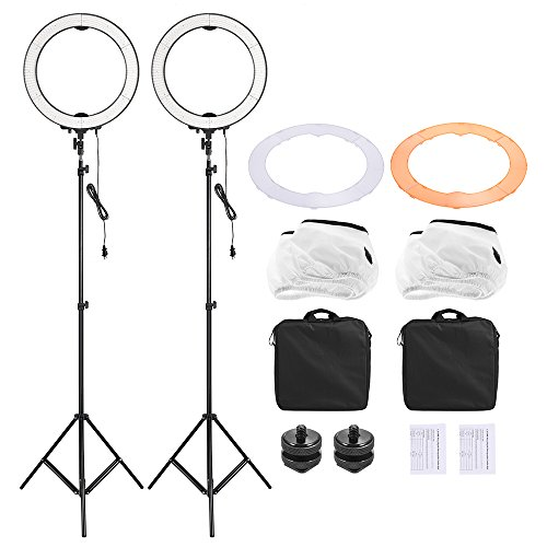 Andoer LA-650D LED Ring Fill-in Light Kit 5500K 40W Studio Light with 2pcs Filter (Orange/White Soft) / 2pcs 6.6ft Light Stand / 2pcs Mount Adapter by Andoer