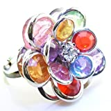 DaisyJewel Exclusive: Adjustable Chakra Balancing Energy Healing Lotus Ring - Beautiful Silvertone with Sparkling Flower Petals - One Size Fits All / One Size Fits Most