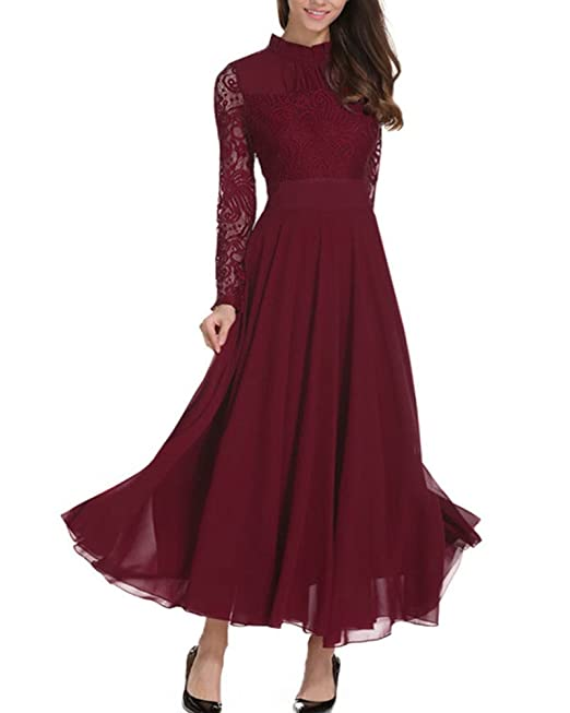 555a075add Aofur Plus Size Women s Chiffon Lace Long Prom Cocktail Ladies Maxi Evening  Party Swing Dress  Amazon.co.uk  Clothing