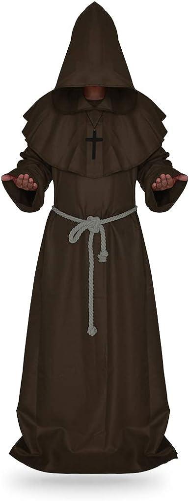 Plague Doctor Costume Cloak Robe HalloweenProps Medieval Monk Priest Renaissance
