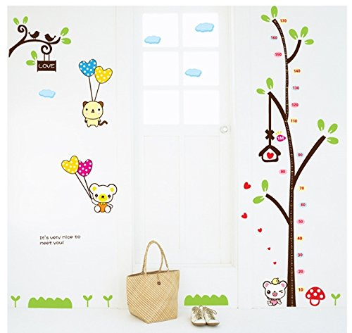 Measure Stickers (The Real Peel Premium Removable Wall Stickers for Kids Rooms, Nursery, Baby, Boys & Girls Bedroom - Peel & Stick, Large Removable Vinyl Wall Decal Stickers (Measuring Tree))