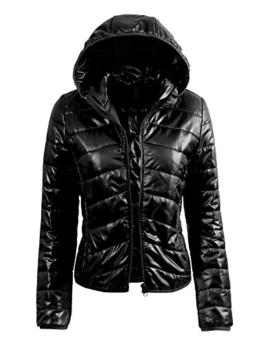 LE3NO Women's Fitted Zip Up Jacket with Hood