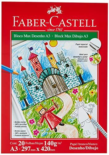 Bloco Max Desenho 140g 20 Folhas, Faber-Castell, Mista, A3