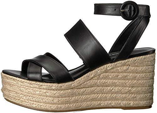 Nine West Women's KUSHALA Leather Wedge Sandal, Black, 9 Medium US