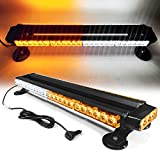 26' 54 LED 7 Flash Mode Traffic Advisor Double Side Emergency Warning Security Vehicle Roof Top Strobe Light Bar with Magnetic Base for Undercover or Tow Truck Construction (White/Amber)