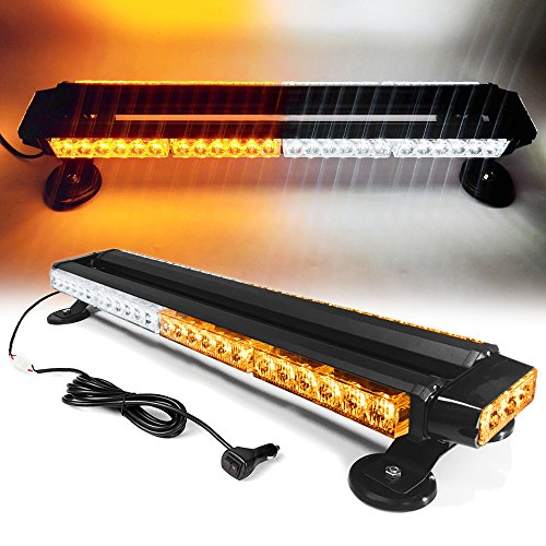 """26"""" 54 LED 7 Flash Mode Traffic Advisor Double Side Emergency Warning Security Vehicle Roof Top Strobe Light Bar with Magnetic Base for Undercover or Tow Truck Construction (White/Amber)"""