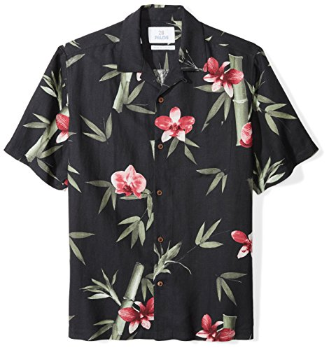 28 Palms Men's Relaxed-Fit Silk/Linen Tropical Hawaiian Shirt, Black/Pink Bamboo Orchid, Large