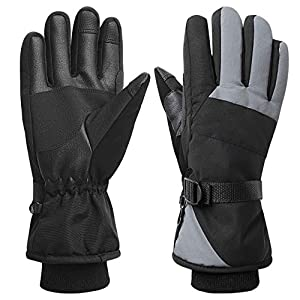 Women Waterproof Windproof Ski Gloves, 3M Thinsulate Snowboard Snowmobile Glove,Black,Large