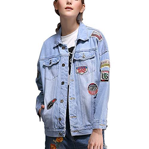 Novio 100 Chaqueta parche Mezclilla Las Casual Jeans De Chicas Lightblue Suelto Mujeres Algodón Corta Nueva wxqYn7zUI