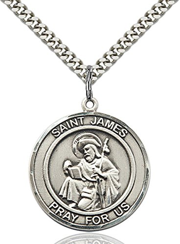 - Sterling Silver Round Catholic Saint James the Greater Medal Pendant, 1 Inch