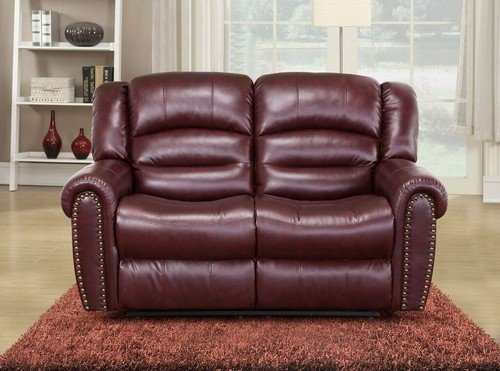 Meridian Furniture Nailhead Reclining Loveseat, Burgundy - Burgundy Leather Loveseat