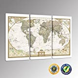 Creative Art – Gallery Wrap Canvas Print – Fashion Modern World Map Canvas Wall Art for Couch Wall Decor, Stretched and Framed, Ready to Hang Picture