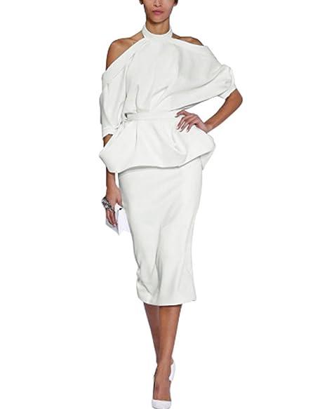 8250a96ea Gikim Women's Elegant Cold Shoulder Halter Peplum Top Midi Skirt Set  Cocktail Dress with Belt White