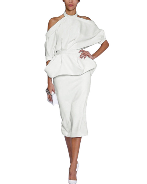 Gikim Women's Elegant Cold Shoulder Halter Peplum Top Midi Skirt Set Cocktail Dress with Belt White XL