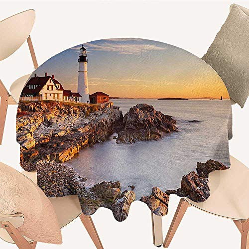 Dragonhome Round Tablecloths Cape Elizabeth Maine River Portland Lighthouse Sunrise USA Coast Scenery Light Blue Tan or Everyday Dinner, Parties, 35 INCH Round