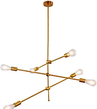 Sputnik Chandelier 6 Lights Gold Pendant Lighting Modern Ceiling Light Fixtures Industrial Vintage Chandeliers For Kitchen Living Room Dining Area Hotel Bar Amazon Ca Tools Home Improvement