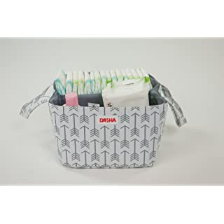 Diaper Storage Caddy By Danha - Portable Diaper Bag And Stacker With Beautiful White Gray Arrow Unisex Design - Changing Table Storage Basket And Nappy Caddy