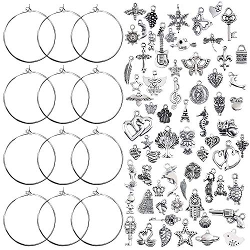 (Jdesun 100 Pieces Wine Glass Charm Rings Earring Hoops and 100 Pieces Ocean Fish & Sea Charms Pendants for DIY Your Unique Wine Glass Marker)