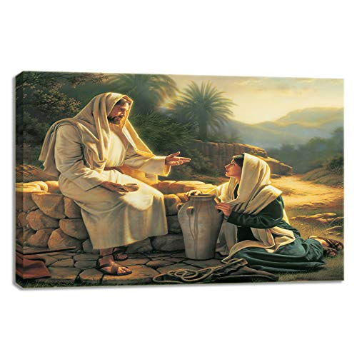 (KALAWA Gethsemane Jesus Picture Framed Wall Art for Living Room Christian Painting Canvas Artwork Print On Canvas Home Decor Artwork Stretched Ready to Hang(24''W x)