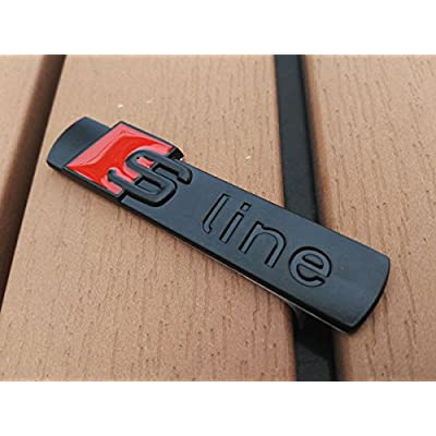 Deselen - LP-BS06 - Car Emblem Chrome Stickers Decals Badge Labeling for S Line A3, A4, A6, Q3,Q5, Q7, S6, S8, Pack of 2 (Black): Automotive