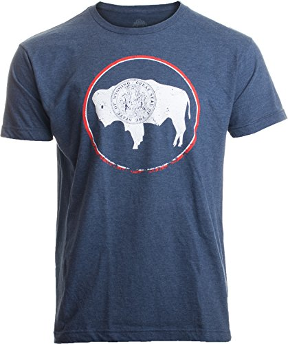 Vintage Ladies T-shirt - Vintage Wyoming Flag | Crest and Buffalo WY State Pride Men or Women T-Shirt-(Adult,XL) Heather Navy