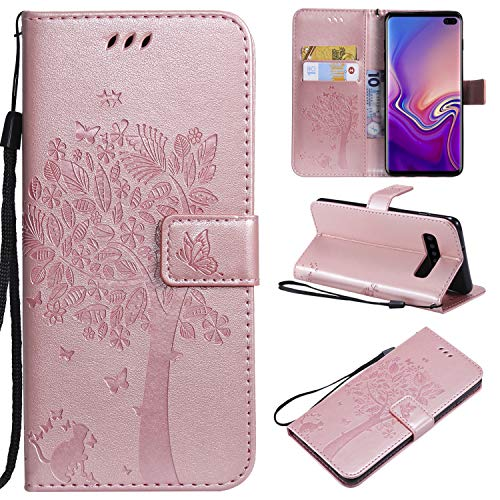 NOMO Galaxy S10 Case,Samsung S10 Wallet Case,Galaxy S10 Flip Case PU Leather Emboss Tree Cat Flowers Folio Magnetic Kickstand Cover with Card Slots for Samsung Galaxy S10 Rose Gold by NOMO