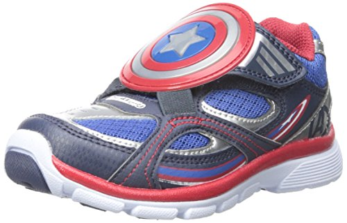 Captain America Shoes (Stride Rite Captain America A/C Light-up Sneaker (Toddler/Little Kid), Blue, 6 M US Toddler)