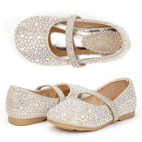 Girls Flat (DREAM PAIRS Muy-Shine-Inf Mary Jane Girls Rhinestone Studded Slip On Ballet Flats Toddler New Gold Size 10)