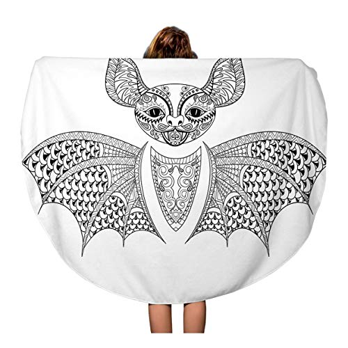 Semtomn 60 Inches Round Beach Towel Blanket Zentangle Bat Totem for Adult Anti Stress Coloring Page Travel Circle Circular Towels Mat Tapestry Beach Throw]()