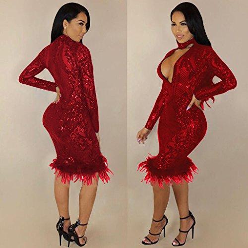 Paillettes WDFZ Hiver Jupe Robe Femme Fashion Sexy Slim Automne Red Hanche rEwqrYC