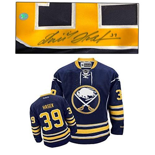 Jersey Blue Authentic Autographed Reebok (Dominik Hasek Signed Jersey - Blue Reebok Premier Size Medium Fuzzy - Autographed NHL Jerseys)