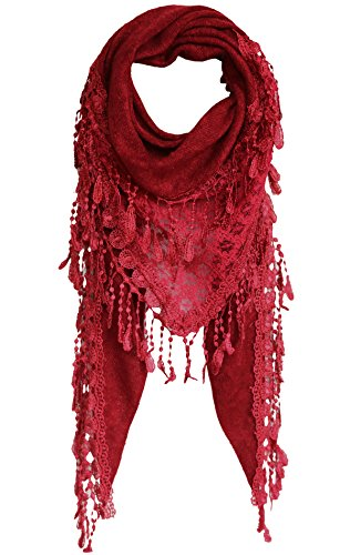 KMystic Lace Triangle Sheer Scarf (Winter Red)