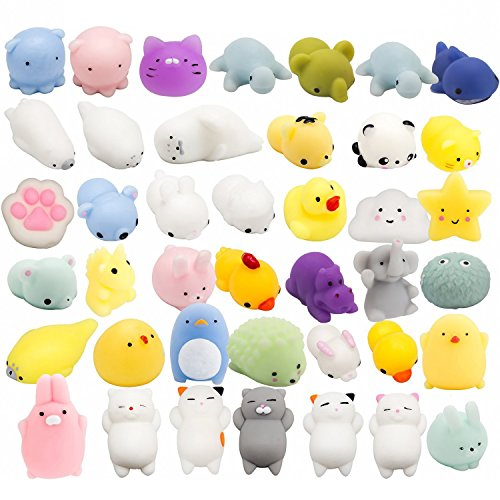 Animal Stress Balls - WATINC Random 40 Pcs Cute Animal Mochi Squishy, Kawaii Mini Soft Squeeze Toy,Fidget Hand Toy for Kids Gift,Stress Relief,Decoration, 40 Pack