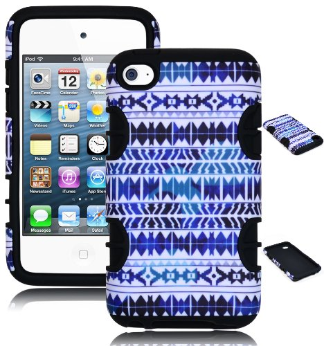 Black 4th Generation Ipod (Bastex Heavy Duty Hybrid Case for Touch 4, 4th Generation iPod Touch - Black Silicone / Blue & White Chevron Tribal Aztec Hard Shell)